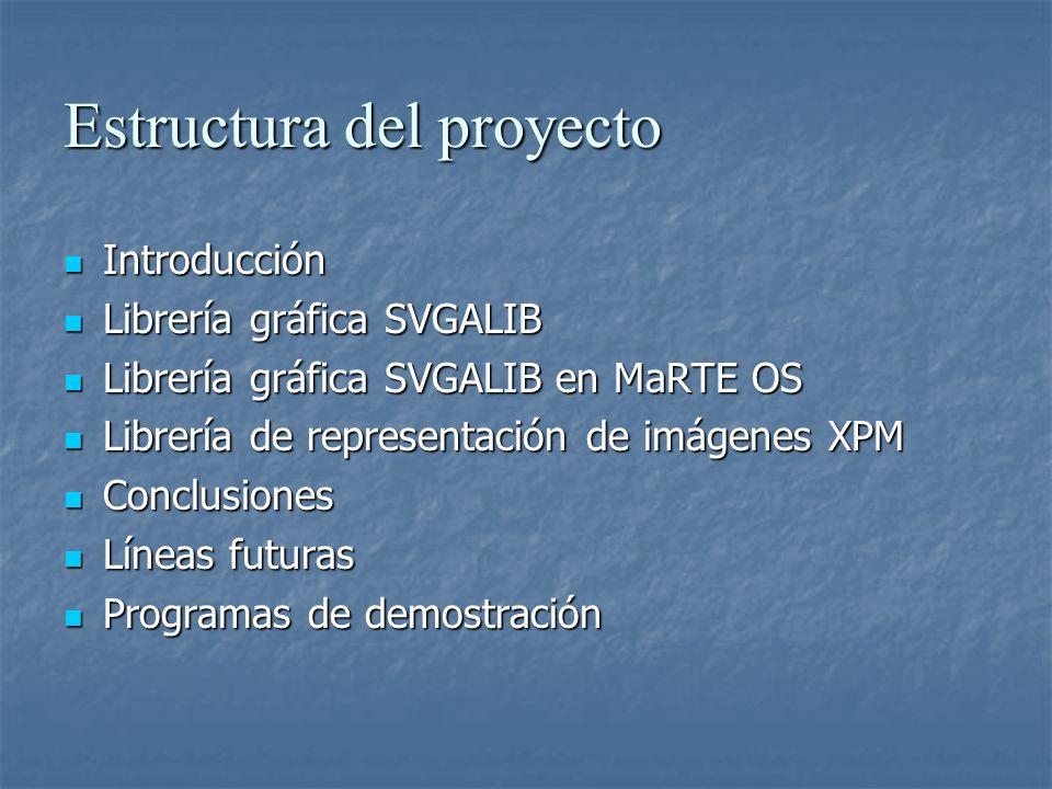 Arquitectura SVGALIB de MaRTE OS Funciones de inicio (elección modo, DAC, tarjeta, …) Funciones básicas Dibujo (color, píxel, línea) Edición de imagen (scroll, copiado, pegado) Funciones primitivas (píxel, recta, rectángulo, elipse, circunferencia, polilínea, polígono,texto y figuras rellenas Arquitectura en MaRTE OS