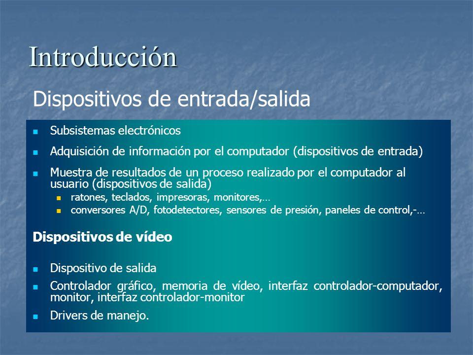 Introducción Dispositivos de entrada/salida Subsistemas electrónicos Adquisición de información por el computador (dispositivos de entrada) Muestra de