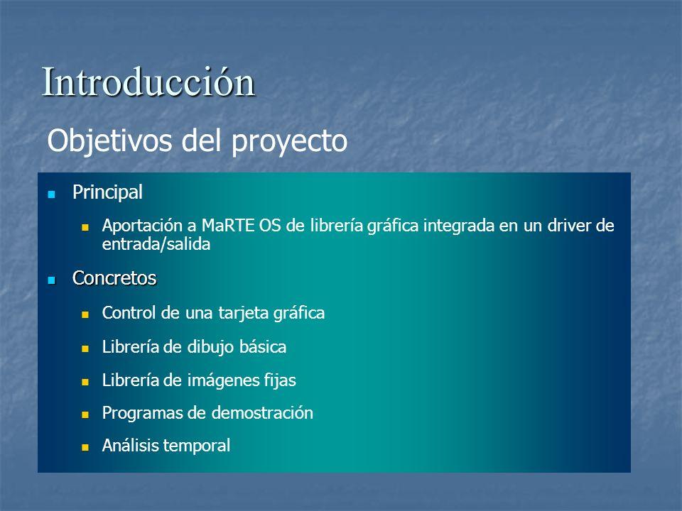 Introducción Objetivos del proyecto Principal Aportación a MaRTE OS de librería gráfica integrada en un driver de entrada/salida Concretos Concretos C