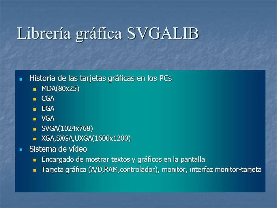Librería gráfica SVGALIB Historia de las tarjetas gráficas en los PCs Historia de las tarjetas gráficas en los PCs MDA(80x25) MDA(80x25) CGA CGA EGA E