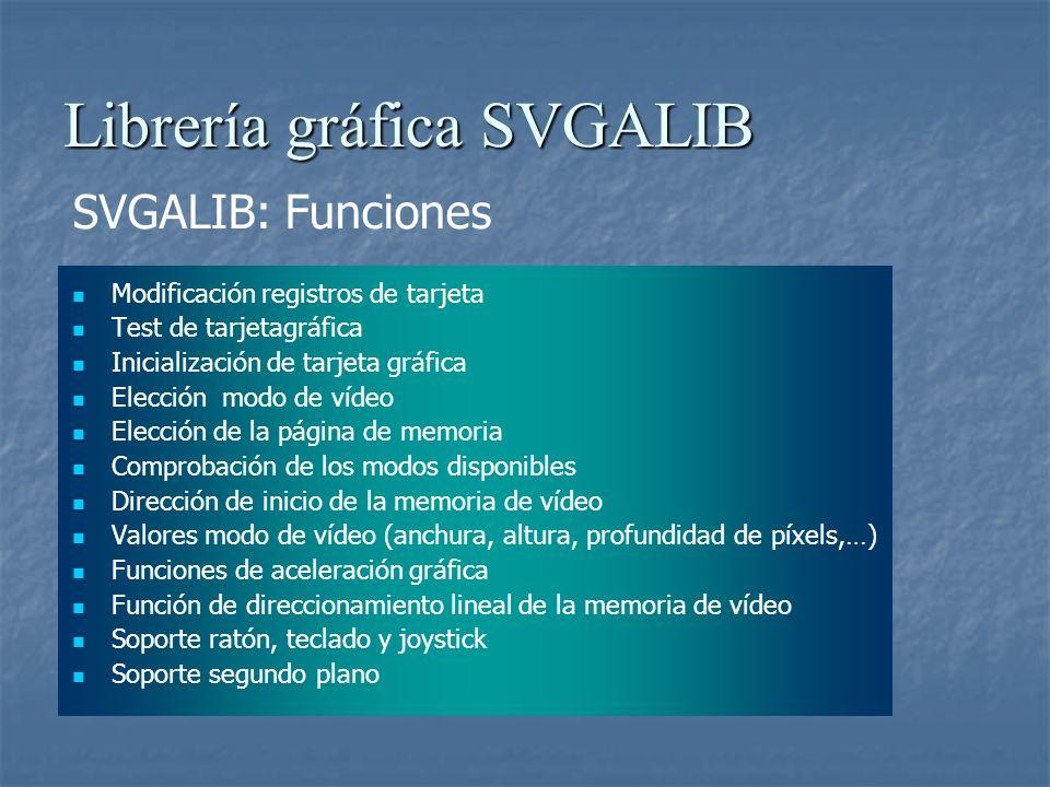 Librería gráfica SVGALIB Tarjeta S3TRIO64 Procesador gráfico de 64 bits Memoria de 1 Mbyte Conversor A/Dl integrado de 135 Mhz Modos VGA a partir de 256 colores Modos SVGA 800x600x32 y 1024x768x16 Refresco vertical de pantalla hasta 85 Hz Compatibilidad con VESA Compatibilidad familia TRIO64 Filtrado vertical Conexión PCI Esquema de S3TRIO64