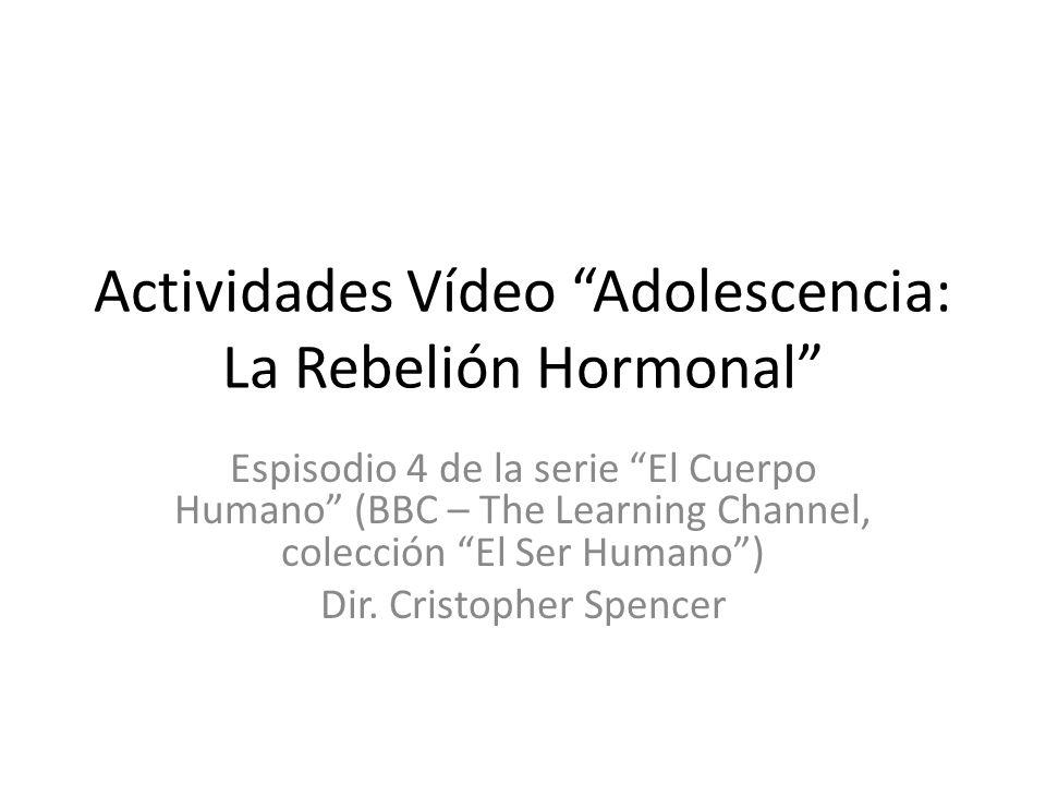 Actividades Vídeo Adolescencia: La Rebelión Hormonal Espisodio 4 de la serie El Cuerpo Humano (BBC – The Learning Channel, colección El Ser Humano) Dir.