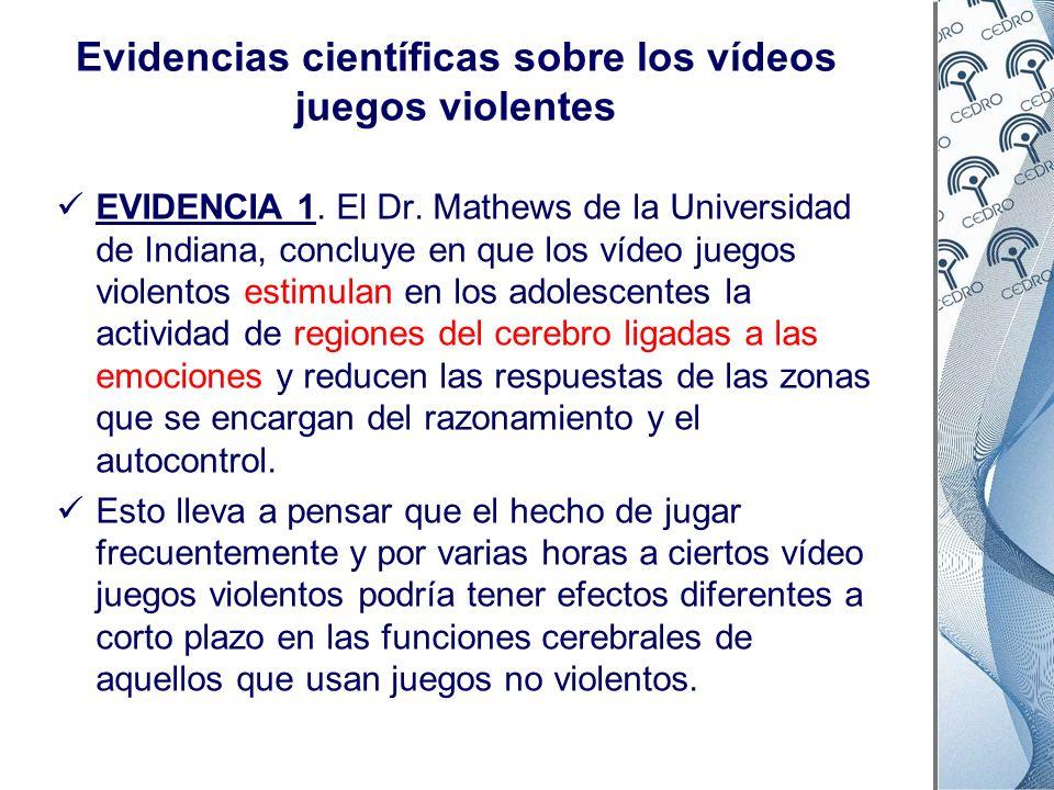 Evidencias científicas sobre los vídeos juegos violentes EVIDENCIA 1. El Dr. Mathews de la Universidad de Indiana, concluye en que los vídeo juegos vi