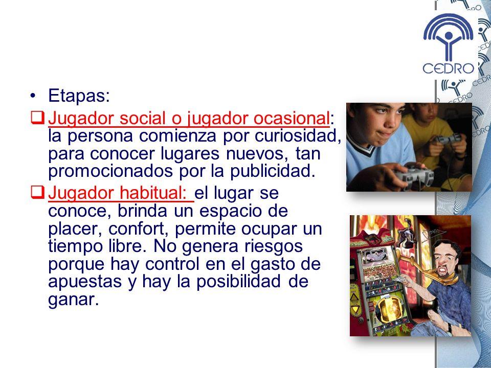 Etapas: Jugador social o jugador ocasional: la persona comienza por curiosidad, para conocer lugares nuevos, tan promocionados por la publicidad. Juga
