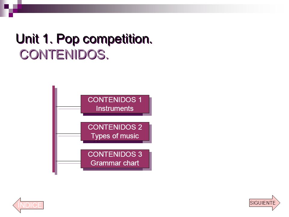 Unit 1. Pop competition. CONTENIDOS.
