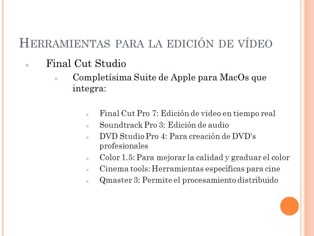 H ERRAMIENTAS PARA LA EDICIÓN DE VÍDEO Final Cut Studio Completísima Suite de Apple para MacOs que integra: Final Cut Pro 7: Edición de video en tiemp