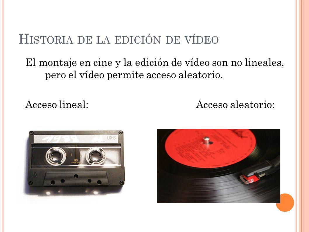 H ISTORIA DE LA EDICIÓN DE VÍDEO El montaje en cine y la edición de vídeo son no lineales, pero el vídeo permite acceso aleatorio. Acceso lineal:Acces
