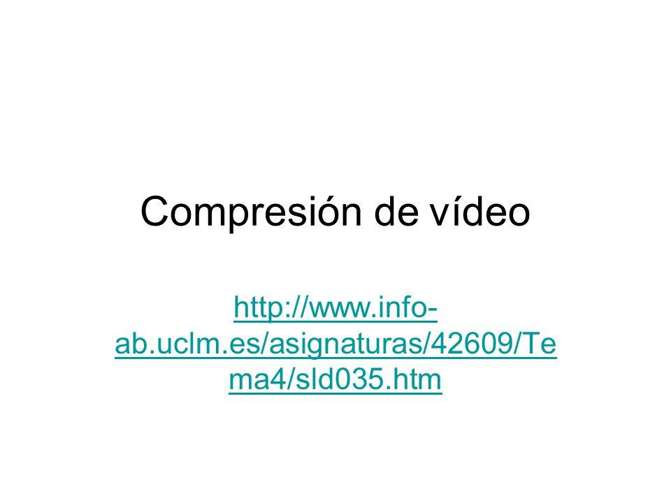 Estándares MPEG Motion Pictures Expert Group Estándar ISO/IEC JTC1/SC29/WG11 MPEG 1: –El primer trabajo del grupo, iniciado en 1988 se concentró en la compresión de vídeo con velocidades bajas y adecuadas a dispositivos de almacenamiento tales como CD-ROM y transmisión a 1,554 y 2,048 Mbits/s MPEG 2 –Método de codificación de señales audiovisuales para proporcionar una buena calidad sobre la base de la norma de televisión digital 601 del CCIR.