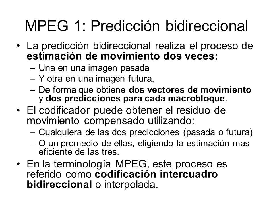 MPEG 1: Predicción bidireccional La predicción bidireccional realiza el proceso de estimación de movimiento dos veces: –Una en una imagen pasada –Y ot