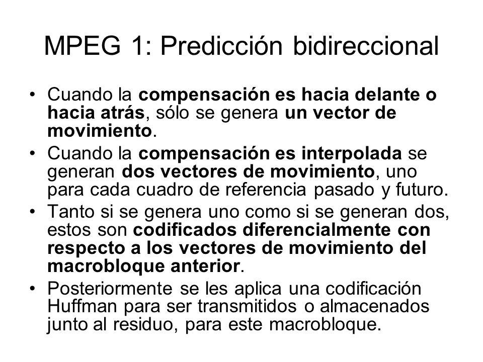 MPEG 1: Predicción bidireccional Cuando la compensación es hacia delante o hacia atrás, sólo se genera un vector de movimiento. Cuando la compensación