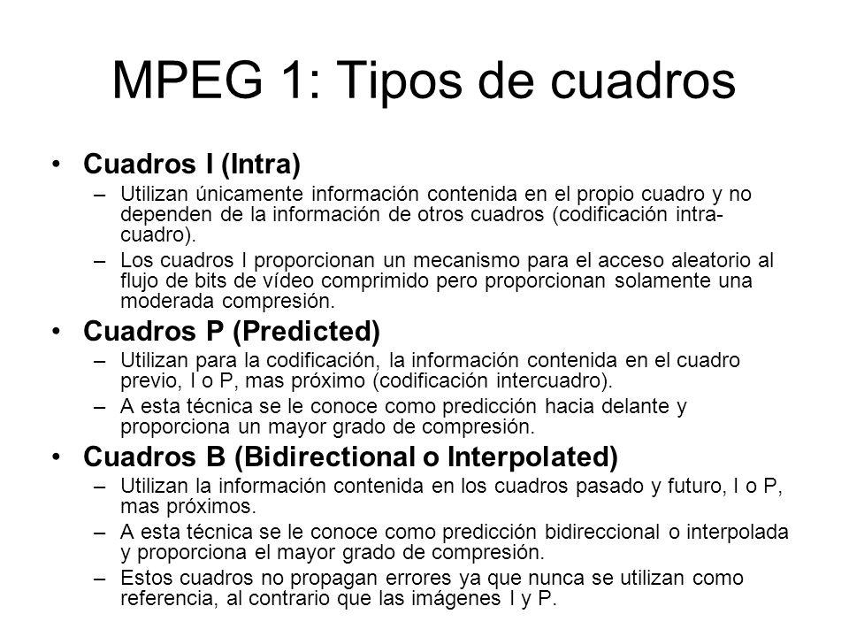 MPEG 1: Tipos de cuadros Cuadros I (Intra) –Utilizan únicamente información contenida en el propio cuadro y no dependen de la información de otros cua