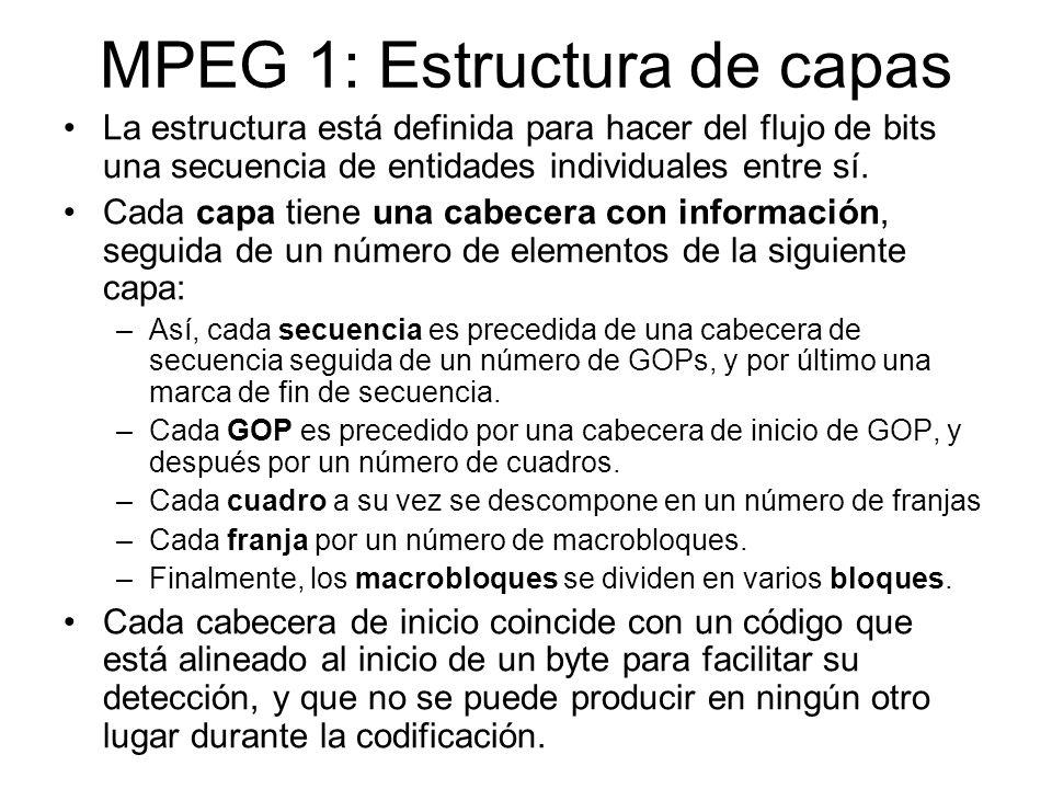 MPEG 1: Estructura de capas La estructura está definida para hacer del flujo de bits una secuencia de entidades individuales entre sí. Cada capa tiene