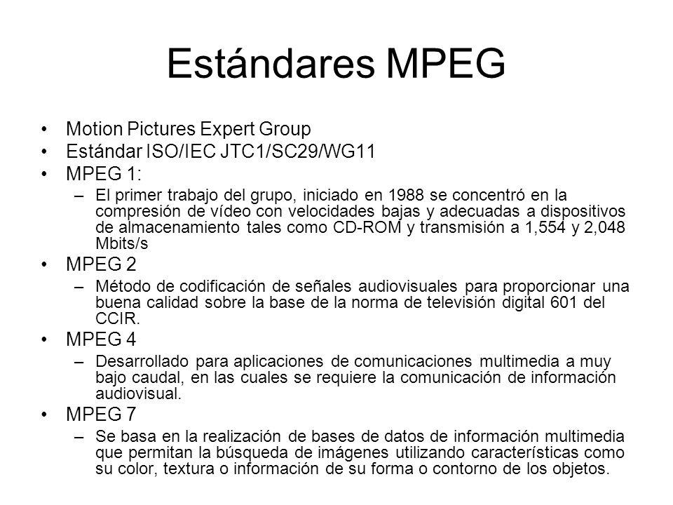 Estándares MPEG Motion Pictures Expert Group Estándar ISO/IEC JTC1/SC29/WG11 MPEG 1: –El primer trabajo del grupo, iniciado en 1988 se concentró en la