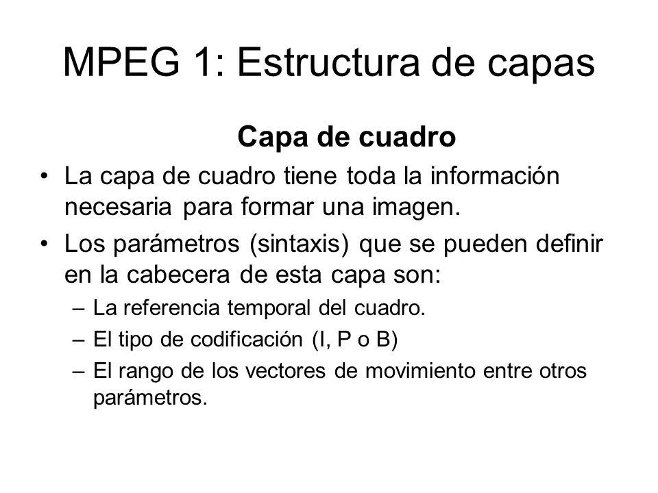 MPEG 1: Estructura de capas Capa de cuadro La capa de cuadro tiene toda la información necesaria para formar una imagen. Los parámetros (sintaxis) que