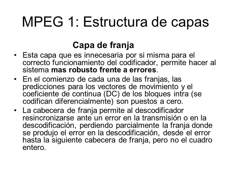 MPEG 1: Estructura de capas Capa de franja Esta capa que es innecesaria por si misma para el correcto funcionamiento del codificador, permite hacer al