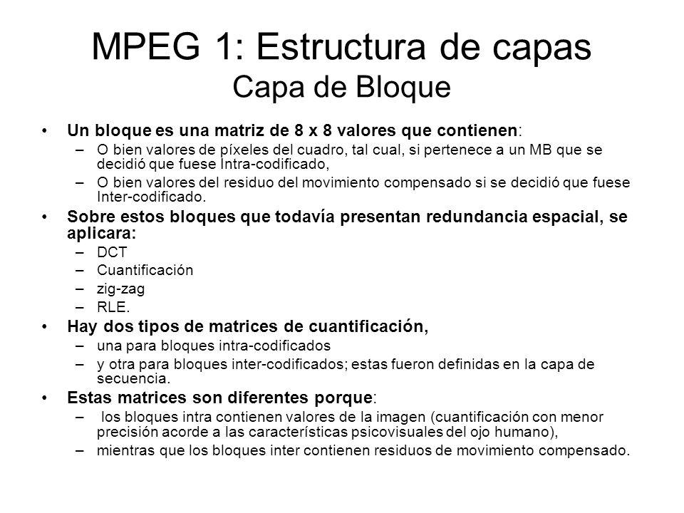 MPEG 1: Estructura de capas Capa de Bloque Un bloque es una matriz de 8 x 8 valores que contienen: –O bien valores de píxeles del cuadro, tal cual, si