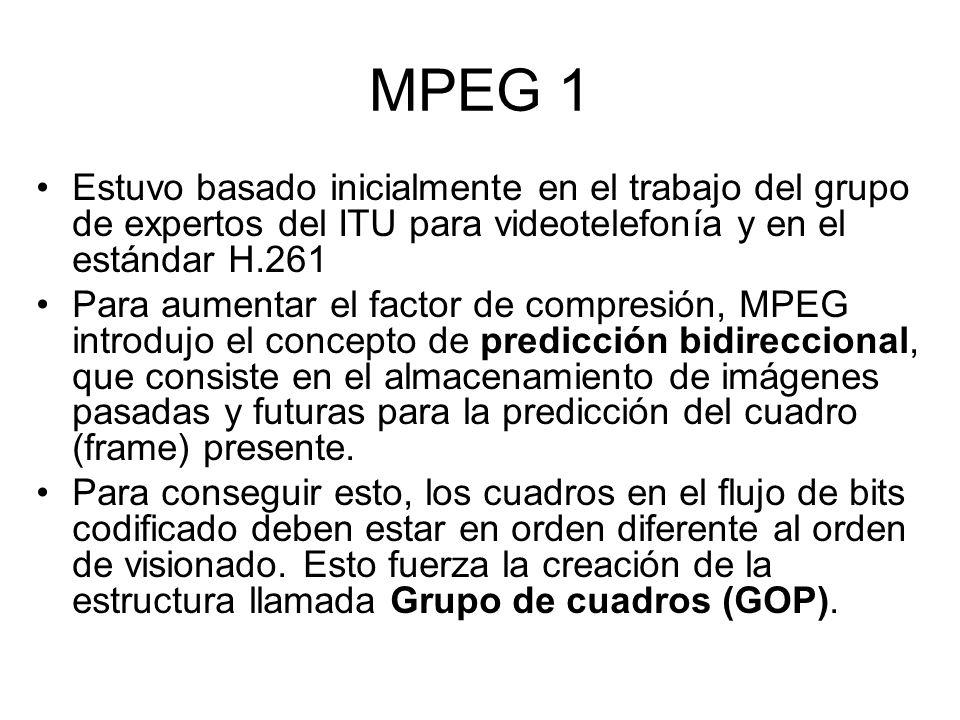 MPEG 1 El conjunto de objetivos establecido para MPEG 1 fue el siguiente: –Acceso aleatorio –Búsqueda rápida/rebobinado rápido –Visionado inverso –Sincronización audiovisual –Robustez frente a errores –Retardo de codificación/descodificación –Editabilidad –Compatibilidad de formatos –Costes