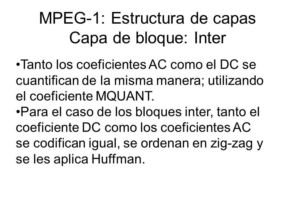 MPEG-1: Estructura de capas Capa de bloque: Inter Tanto los coeficientes AC como el DC se cuantifican de la misma manera; utilizando el coeficiente MQ