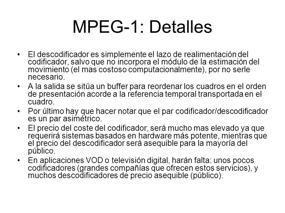 MPEG-1: Detalles El descodificador es simplemente el lazo de realimentación del codificador, salvo que no incorpora el módulo de la estimación del mov