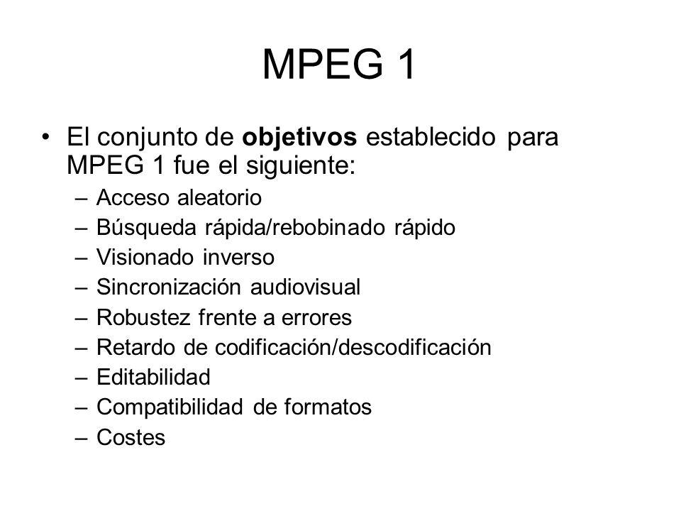 MPEG 1 El conjunto de objetivos establecido para MPEG 1 fue el siguiente: –Acceso aleatorio –Búsqueda rápida/rebobinado rápido –Visionado inverso –Sin
