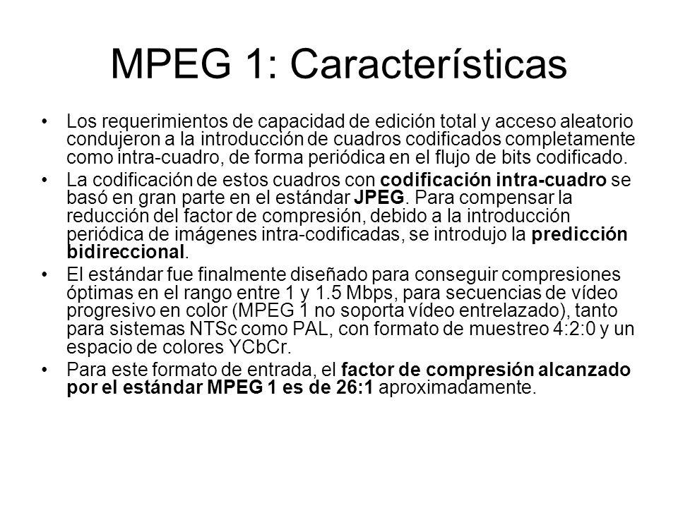 MPEG 1: Características Los requerimientos de capacidad de edición total y acceso aleatorio condujeron a la introducción de cuadros codificados comple
