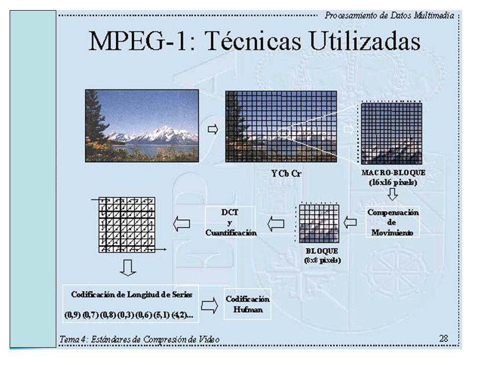 MPEG 1: Parámetros restringidos El conjunto de parámetros restringidos del flujo de bits que como mínimo debe soportar cada descodificador compatible con MPEG 1 son: ParámetrosValor máximo Tamaño horizontal768 píxeles Tamaño vertical576 líneas Número macrobloques 396 Caudal de píxeles396x25 MB/s Caudal de cuadros30 cuadros/s Rango de los vectores de movimiento ± 64 píxeles Tamaño del buffer de entrada 327.680 bits Caudal de bits1.856 kbits/s