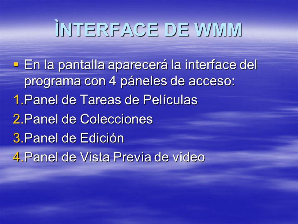 ÌNTERFACE DE WMM En la pantalla aparecerá la interface del programa con 4 páneles de acceso: En la pantalla aparecerá la interface del programa con 4