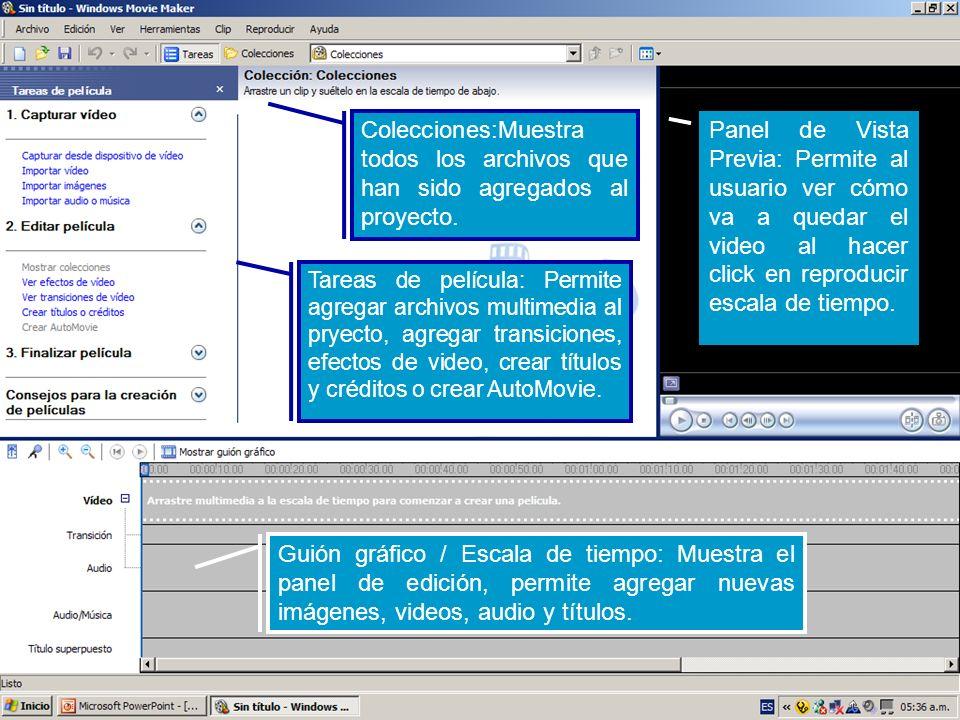 Guión gráfico / Escala de tiempo: Muestra el panel de edición, permite agregar nuevas imágenes, videos, audio y títulos. Colecciones:Muestra todos los