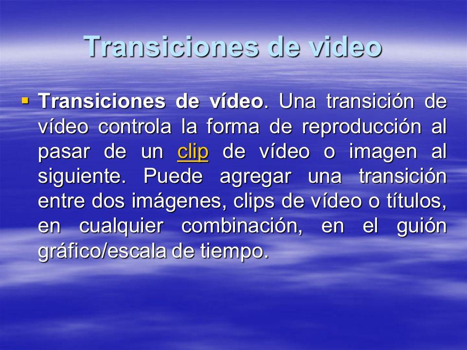 Transiciones de video Transiciones de vídeo. Una transición de vídeo controla la forma de reproducción al pasar de un clip de vídeo o imagen al siguie