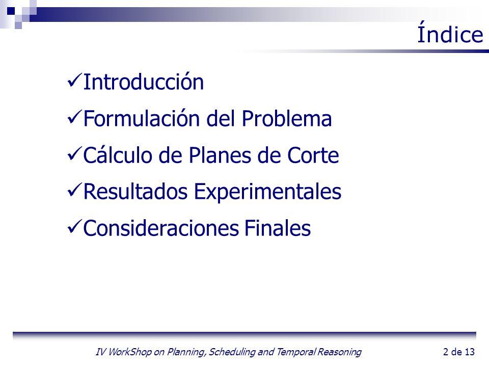 2 de 13 IV WorkShop on Planning, Scheduling and Temporal Reasoning Introducción Formulación del Problema Cálculo de Planes de Corte Resultados Experim