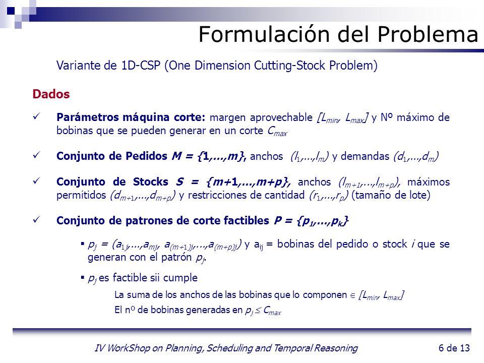 6 de 13 IV WorkShop on Planning, Scheduling and Temporal Reasoning Formulación del Problema Variante de 1D-CSP (One Dimension Cutting-Stock Problem) D