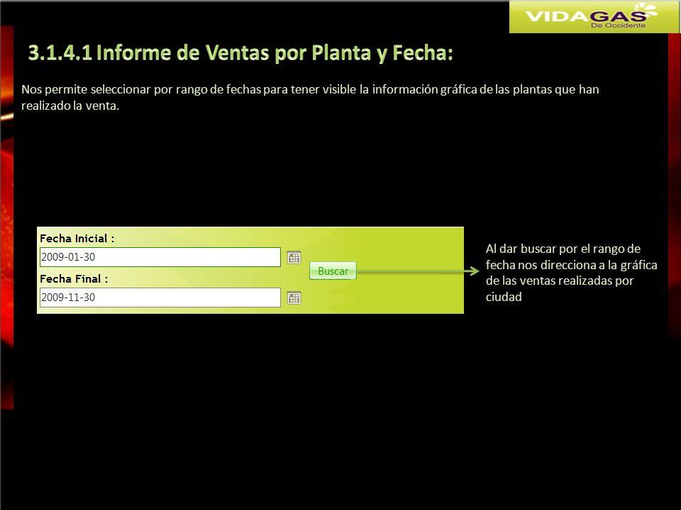 Nos permite seleccionar por rango de fechas para tener visible la información gráfica de las plantas que han realizado la venta. Al dar buscar por el
