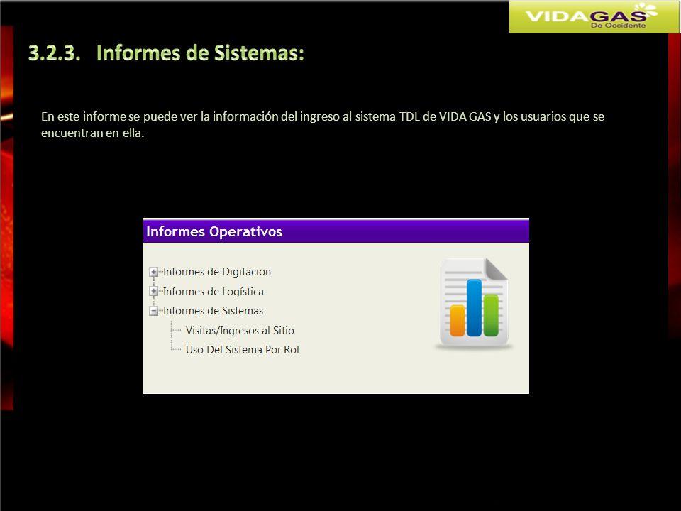 En este informe se puede ver la información del ingreso al sistema TDL de VIDA GAS y los usuarios que se encuentran en ella.