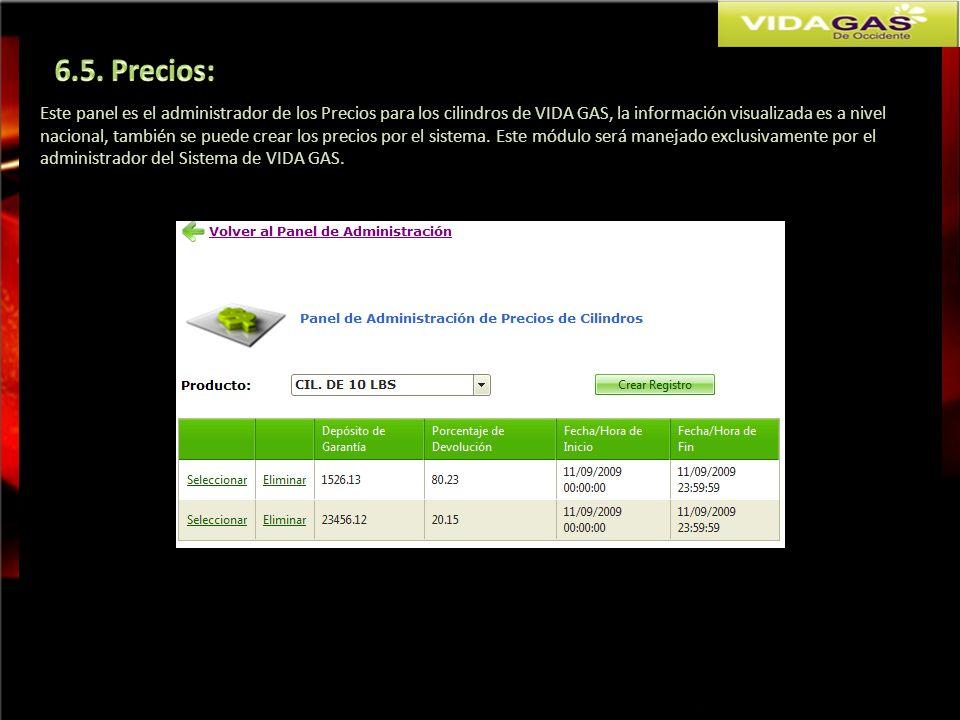 Este panel es el administrador de los Precios para los cilindros de VIDA GAS, la información visualizada es a nivel nacional, también se puede crear l