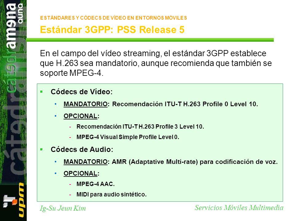 Servicios Móviles Multimedia Ig-Su Jeun Kim Estándar 3GPP: PSS Release 5 En el campo del vídeo streaming, el estándar 3GPP establece que H.263 sea man