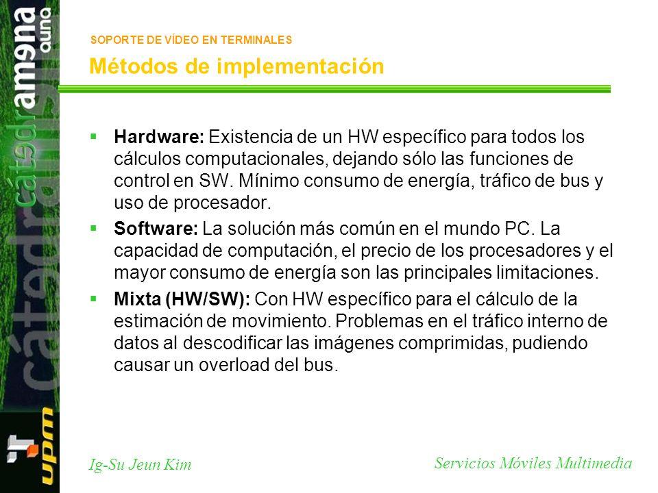 Servicios Móviles Multimedia Ig-Su Jeun Kim Métodos de implementación Hardware: Existencia de un HW específico para todos los cálculos computacionales