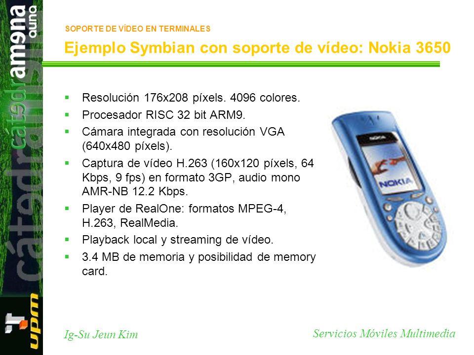 Servicios Móviles Multimedia Ig-Su Jeun Kim Ejemplo Symbian con soporte de vídeo: Nokia 3650 Resolución 176x208 píxels. 4096 colores. Procesador RISC