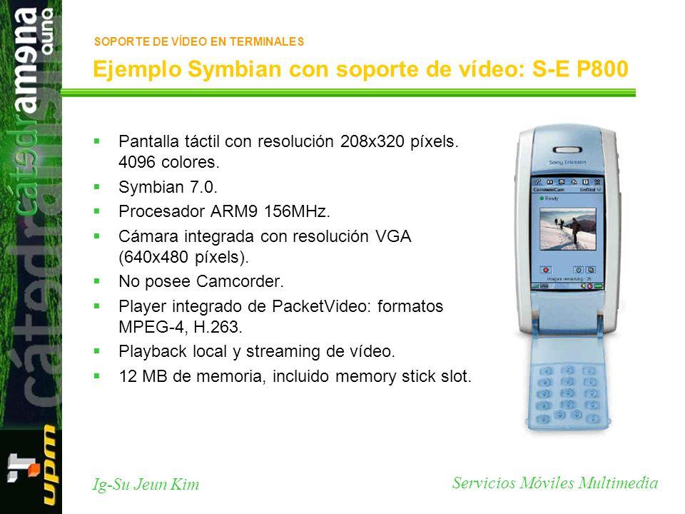 Servicios Móviles Multimedia Ig-Su Jeun Kim Ejemplo Symbian con soporte de vídeo: S-E P800 Pantalla táctil con resolución 208x320 píxels. 4096 colores