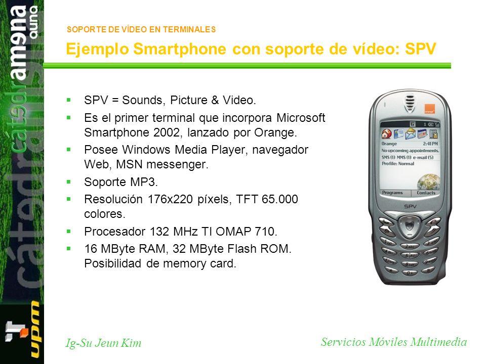 Servicios Móviles Multimedia Ig-Su Jeun Kim Ejemplo Smartphone con soporte de vídeo: SPV SPV = Sounds, Picture & Video. Es el primer terminal que inco