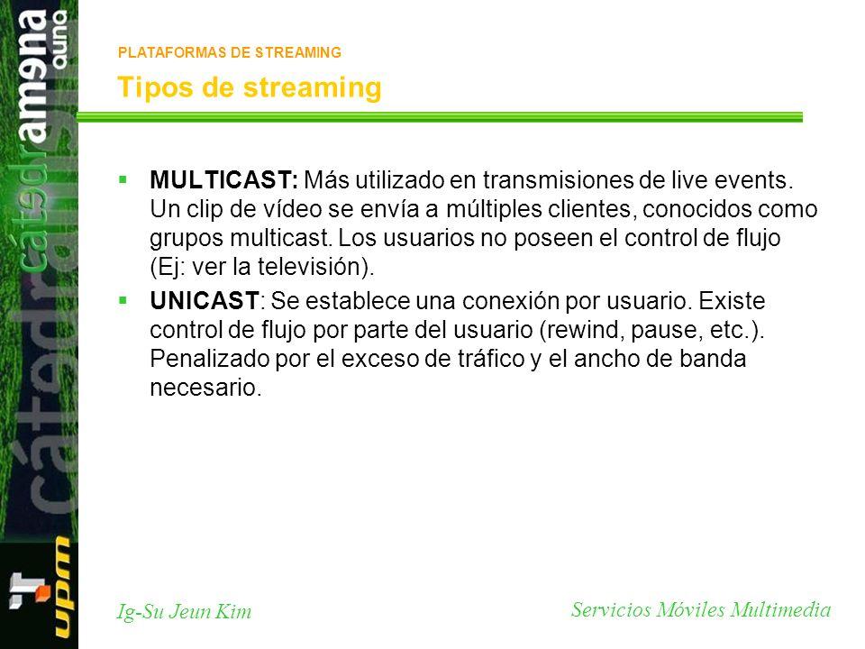 Servicios Móviles Multimedia Ig-Su Jeun Kim Tipos de streaming MULTICAST: Más utilizado en transmisiones de live events. Un clip de vídeo se envía a m