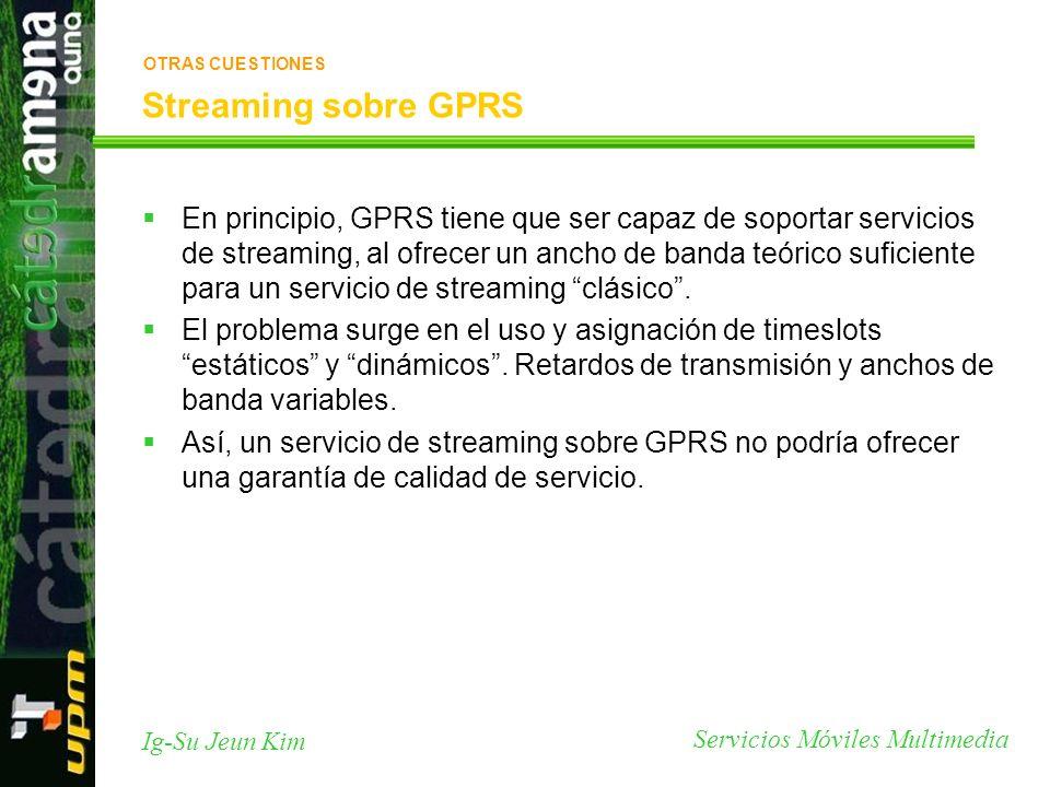 Servicios Móviles Multimedia Ig-Su Jeun Kim Streaming sobre GPRS En principio, GPRS tiene que ser capaz de soportar servicios de streaming, al ofrecer
