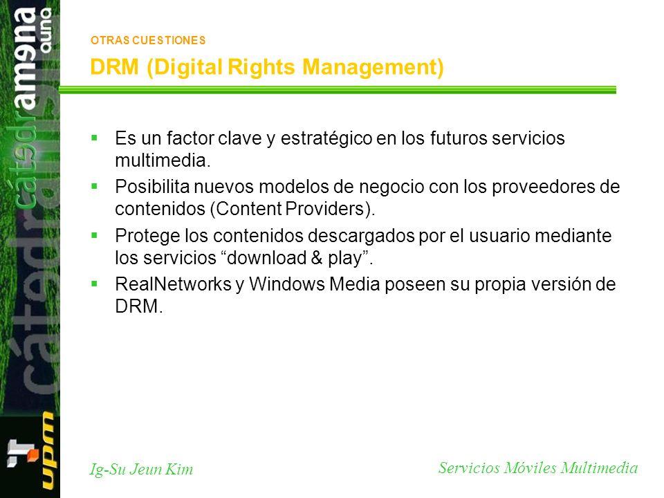 Servicios Móviles Multimedia Ig-Su Jeun Kim DRM (Digital Rights Management) Es un factor clave y estratégico en los futuros servicios multimedia. Posi