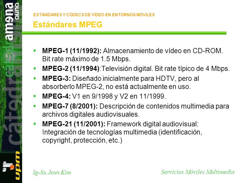 Servicios Móviles Multimedia Ig-Su Jeun Kim Estándares MPEG MPEG-1 (11/1992): Almacenamiento de vídeo en CD-ROM. Bit rate máximo de 1.5 Mbps. MPEG-2 (