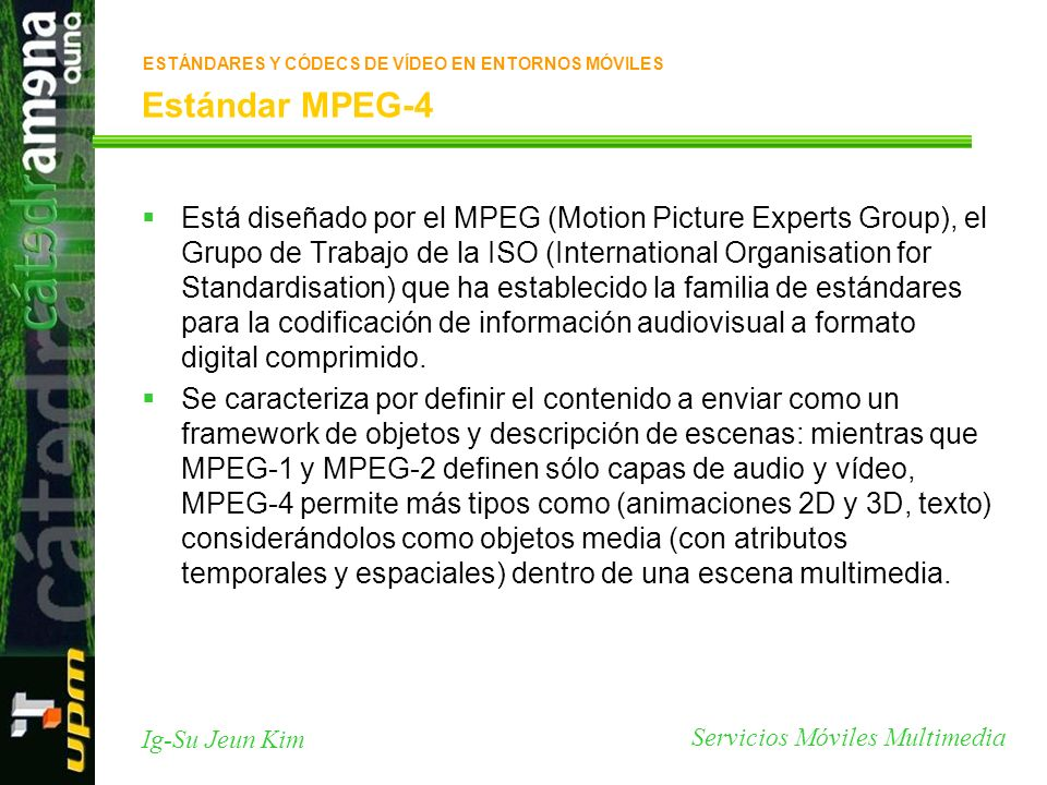 Servicios Móviles Multimedia Ig-Su Jeun Kim Estándar MPEG-4 Está diseñado por el MPEG (Motion Picture Experts Group), el Grupo de Trabajo de la ISO (International Organisation for Standardisation) que ha establecido la familia de estándares para la codificación de información audiovisual a formato digital comprimido.