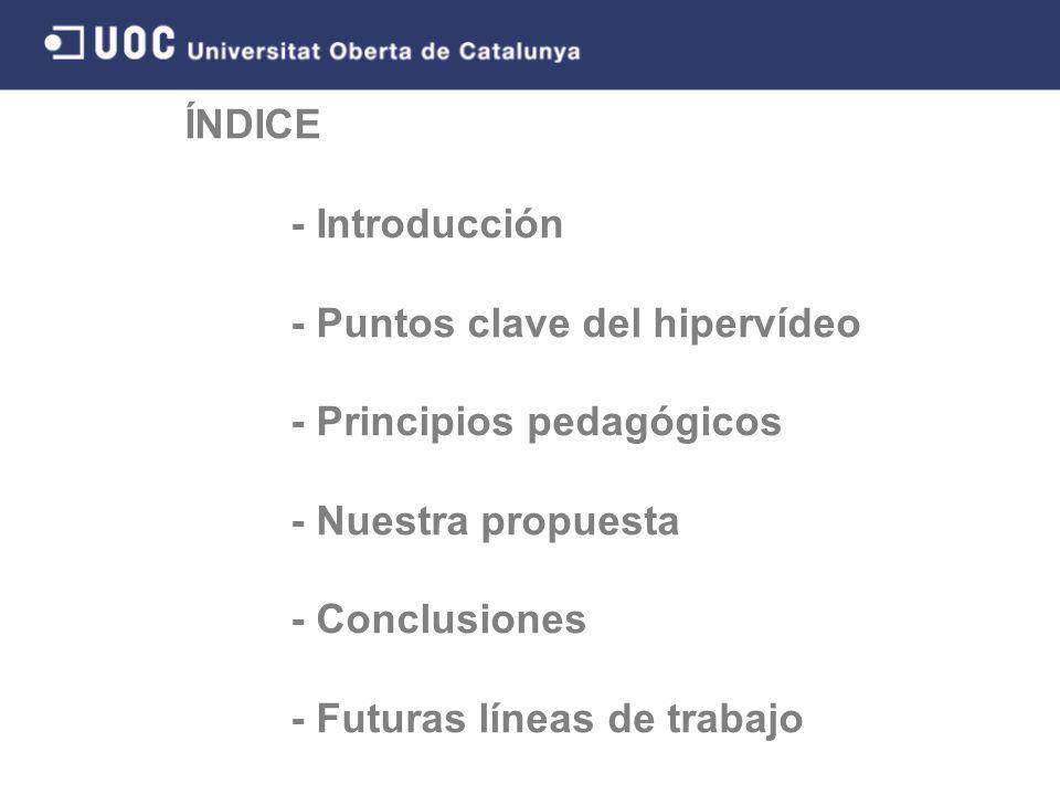 ÍNDICE - Introducción - Puntos clave del hipervídeo - Principios pedagógicos - Nuestra propuesta - Conclusiones - Futuras líneas de trabajo