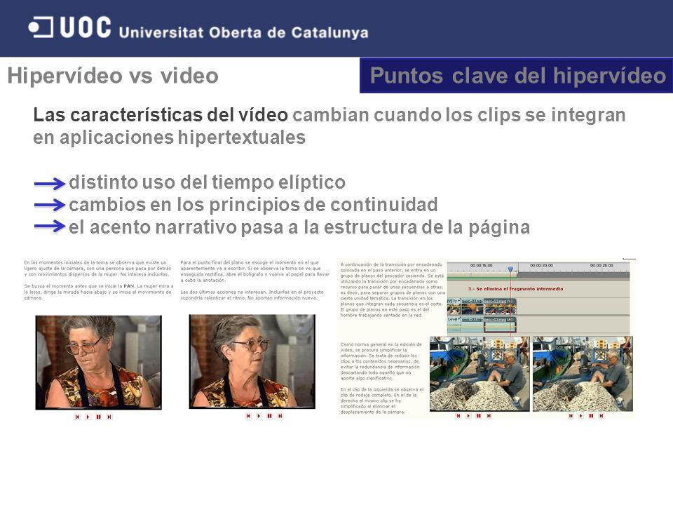Puntos clave del hipervídeo Hipervídeo vs video Las características del vídeo cambian cuando los clips se integran en aplicaciones hipertextuales distinto uso del tiempo elíptico cambios en los principios de continuidad el acento narrativo pasa a la estructura de la página
