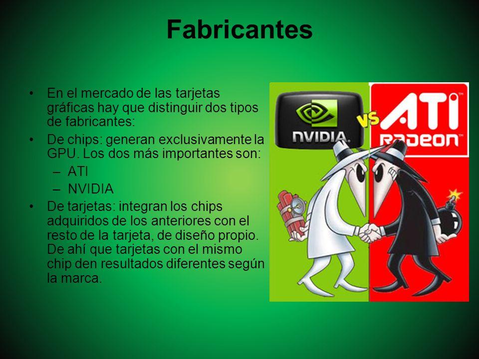 Fabricantes En el mercado de las tarjetas gráficas hay que distinguir dos tipos de fabricantes: De chips: generan exclusivamente la GPU. Los dos más i