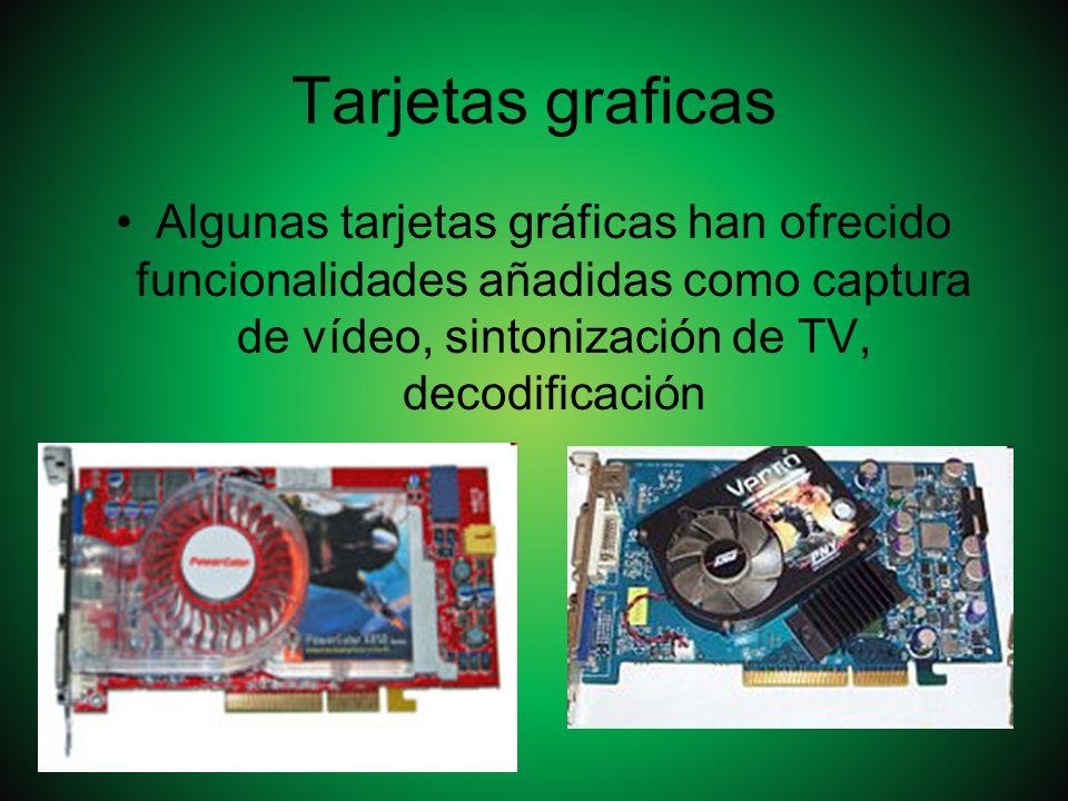 Tarjetas graficas Algunas tarjetas gráficas han ofrecido funcionalidades añadidas como captura de vídeo, sintonización de TV, decodificación