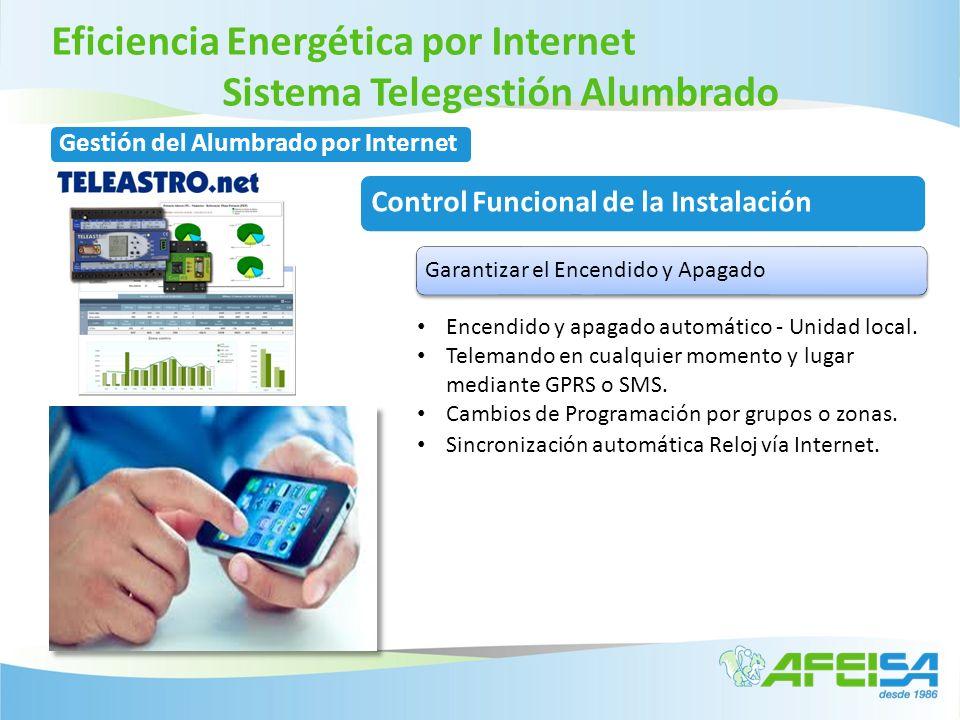 Eficiencia Energética por Internet Sistema Telegestión Alumbrado Encendido y apagado automático - Unidad local. Telemando en cualquier momento y lugar