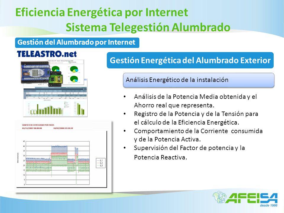 Eficiencia Energética por Internet Sistema Telegestión Alumbrado Análisis Energético de la instalación Análisis de la Potencia Media obtenida y el Aho